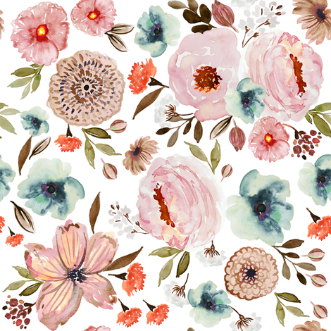 Indy Bloom Fall-ing for you white C fabric by indybloomdesign on Spoonflower - custom fabric