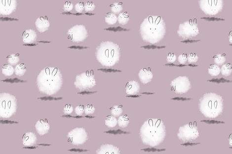 Dustbunnies in lilac fabric by meduzy on Spoonflower - custom fabric