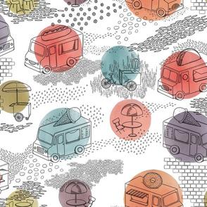 Food Trucks With Watercolor Circles