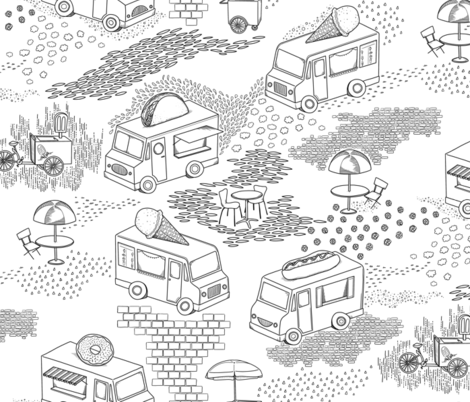 Food Trucks in Black and White fabric by landpenguin on Spoonflower - custom fabric