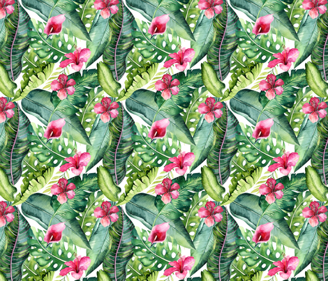 Watercolor tropic jungle seamless summer pattern background with tropical palm monstera leaves and exotic  hibiscus  fabric by peace_shop on Spoonflower - custom fabric