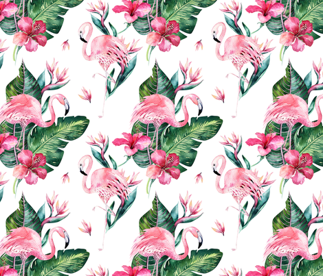Watercolor tropical flamingo bird 4 fabric by peace_shop on Spoonflower - custom fabric