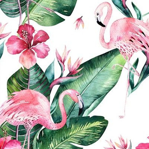 Watercolor tropic jungle seamless summer pattern background with tropical palm monstera leaves, flamingo and exotic  hibiscus