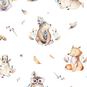 Cute forest party. Watercolor baby animals