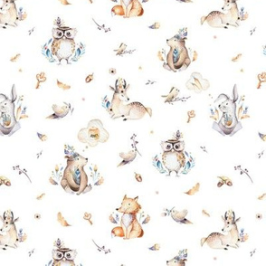 Cute forest party. Watercolor baby animals 4