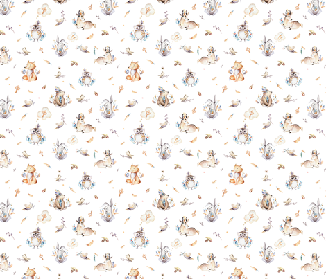Cute forest party. Watercolor baby animals 6 fabric by peace_shop on Spoonflower - custom fabric