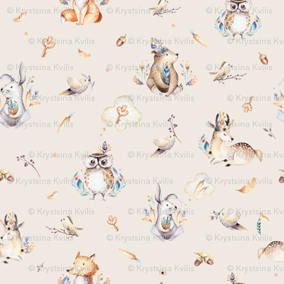 Cute forest party. Watercolor baby animals 7