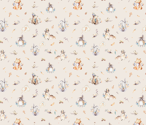 Cute forest party. Watercolor baby animals 7 fabric by peace_shop on Spoonflower - custom fabric