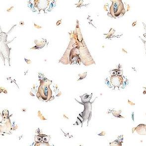 Cute forest party. Watercolor baby animals 10