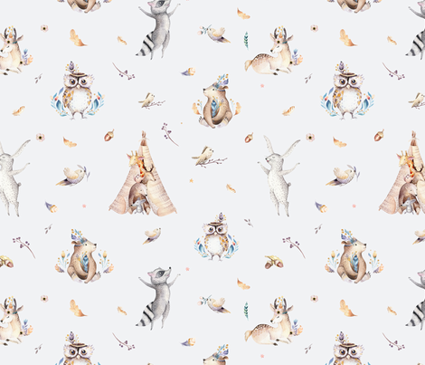 Cute forest party. Watercolor baby animals 12 fabric by peace_shop on Spoonflower - custom fabric