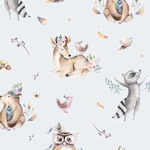 Cute forest party. Watercolor baby animals 16