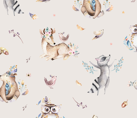 Cute forest party. Watercolor baby animals 17 fabric by peace_shop on Spoonflower - custom fabric