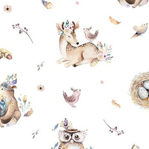 Cute forest party. Watercolor baby animals 18