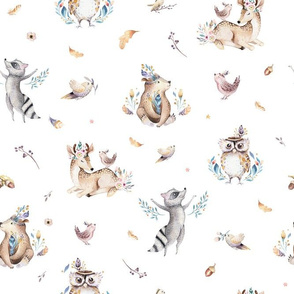 Cute forest party. Watercolor baby animals 15