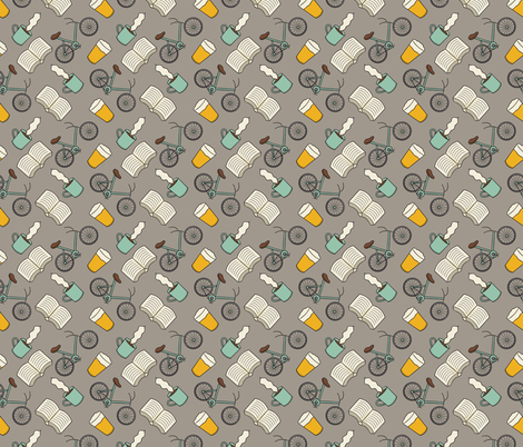 Coffee Books Bikes and Beer fabric by musingtreedesigns on Spoonflower - custom fabric