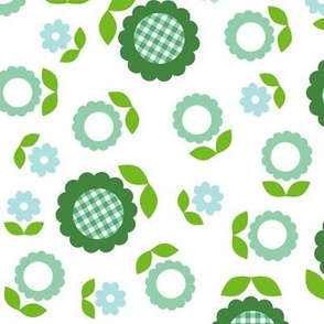 Gingham Flowers* (Maxi Dollar Bill on White) || daisy flower 70s retro 1970s groovy vintage leaves floral mod green