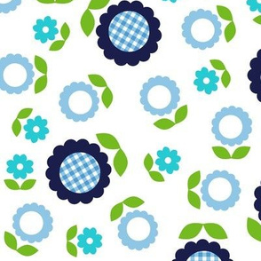 Gingham Flowers* (Maxi Jackie Blue on White) || daisy flower 70s retro 1970s groovy vintage leaves floral mod