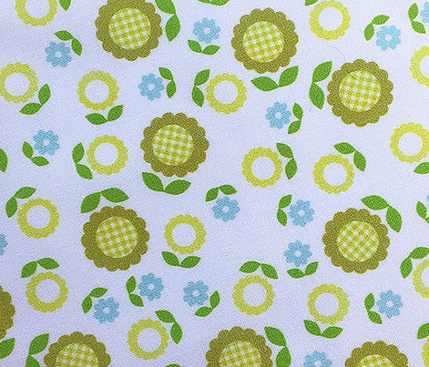 Gingham Flowers* (Maxi Split Pea Soup  on White) || daisy flower 70s retro 1970s groovy vintage leaves floral mod olive green avocado turquoise