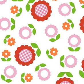 Gingham Flowers* (Maxi Tomato Soup on White) || daisy flower 70s retro 1970s groovy vintage leaves floral mod red orange pink