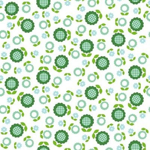 Gingham Flowers* (Mini Dollar Bill on White) || daisy flower 70s retro 1970s groovy vintage leaves floral mod green