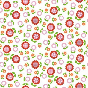 Gingham Flowers* (Mini Tomato Soup on White)    daisy flower 70s retro 1970s groovy vintage leaves floral mod red pink orange