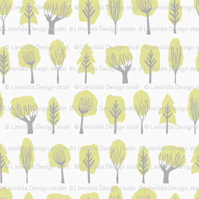 Pastel Doodle Trees Lime Green on Soft Grey Stylized Tree Pattern