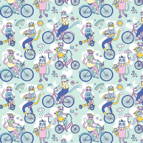 Cycle Cats! in Blue (small)