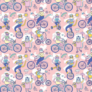 Cycle Cats! in Pink (small)