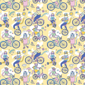 Cycle Cats! in Yellow (small)