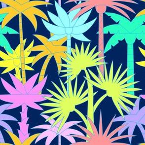 Retro Palm Trees in Navy