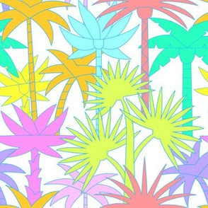 Retro Palm Trees in White