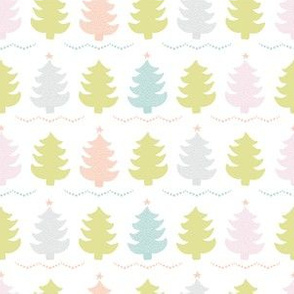 Christmas Trees , Pastel Sylized Doodle Tree Pattern