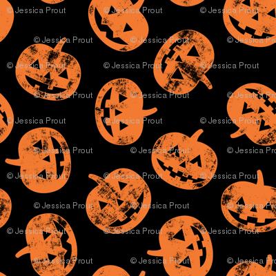 Jack-o'-lantern - pumpkins on black - halloween