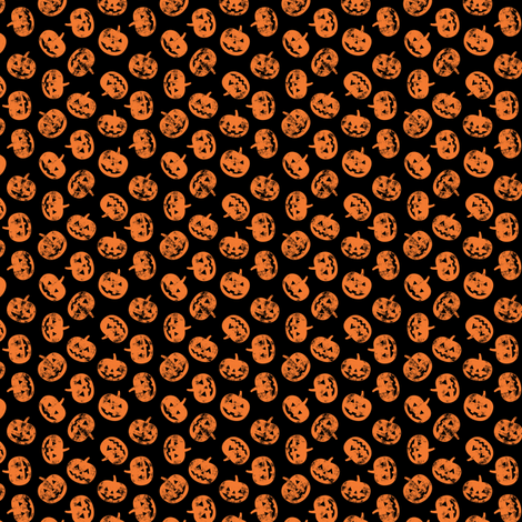 (micro scale) Jack-o'-lantern - pumpkins on black - halloween  fabric by littlearrowdesign on Spoonflower - custom fabric