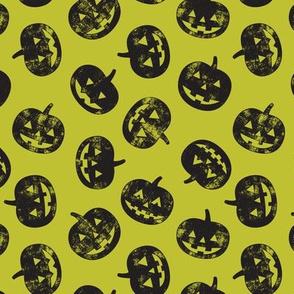 Jack-o'-lantern - pumpkins on lime - halloween