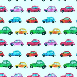 Watercolor cars on mint || pattern for nursery, boys