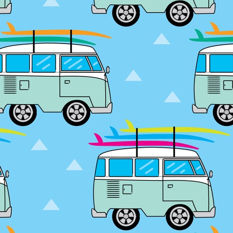 camper-van-and-surfboards-on-blue fabric by lilcubby on Spoonflower - custom fabric