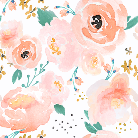 IBD Peachy Punchy Florals C fabric by indybloomdesign on Spoonflower - custom fabric