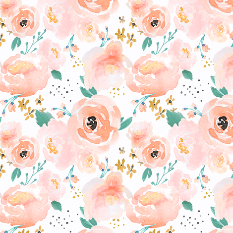 IBD Peachy Punchy Florals B fabric by indybloomdesign on Spoonflower - custom fabric