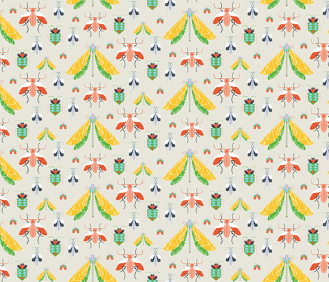 Summer Bug Collection Oatmeal fabric by emmabrereton on Spoonflower - custom fabric