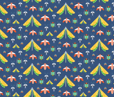 Summer Bug Collection Navy fabric by emmabrereton on Spoonflower - custom fabric