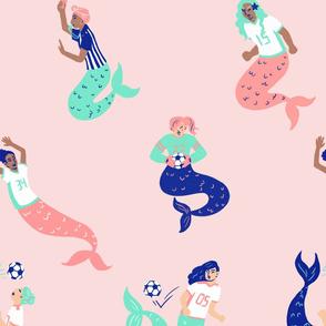 Mermaid Soccer/Football Team in pink, large print
