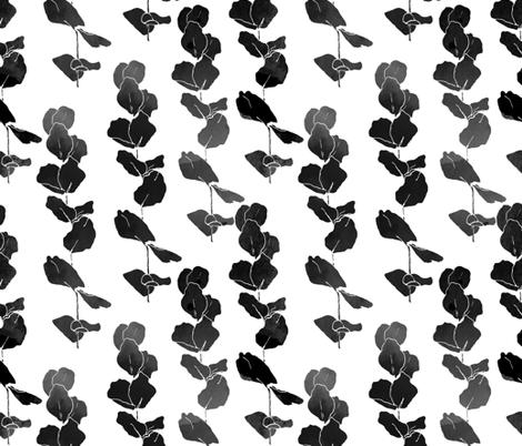 Eucalyptus  Leaves Black  &  White fabric by fat_bird_designs on Spoonflower - custom fabric