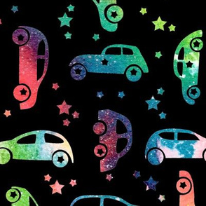 Rainbow cars - black background - larger scale