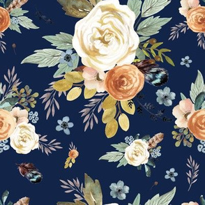 "8"" Western Autumn More Florals  / New Prints 2017 /  NAVY"