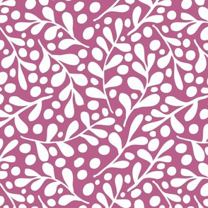 Leaves - white on pink