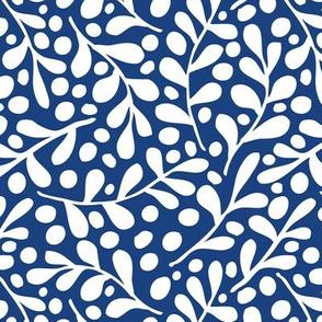 Leaves - white on dark blue