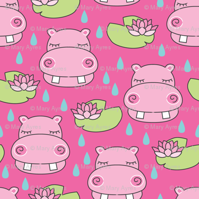 hippos-and-water-lilies-on-hot-pink