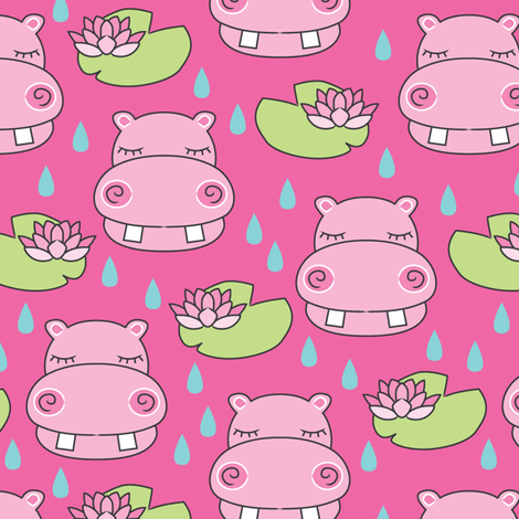 hippos-and-water-lilies-on-hot-pink fabric by lilcubby on Spoonflower - custom fabric