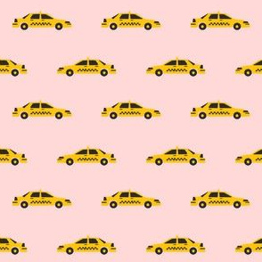 taxi yellow cab new york city tourist travel fabric pink